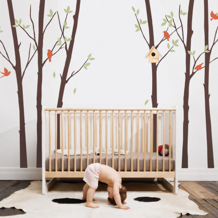 Tree Wall Decal with Leaves and Birds - Wall Sticker Outlet