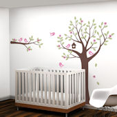 Flower Tree with Birds and Deer Decals