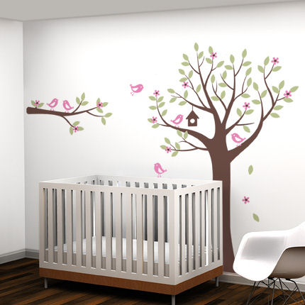Flower Tree with Birds and Deer Decals - Wall Sticker Outlet