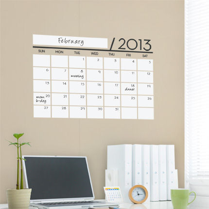 Dry Erase Calendar - 2013 Wall Decal - Wall Sticker Outlet