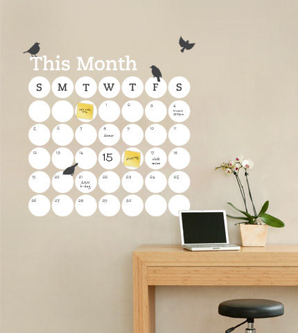 Dry Erase Daily Dot Calendar Wall Decal - Wall Sticker Outlet