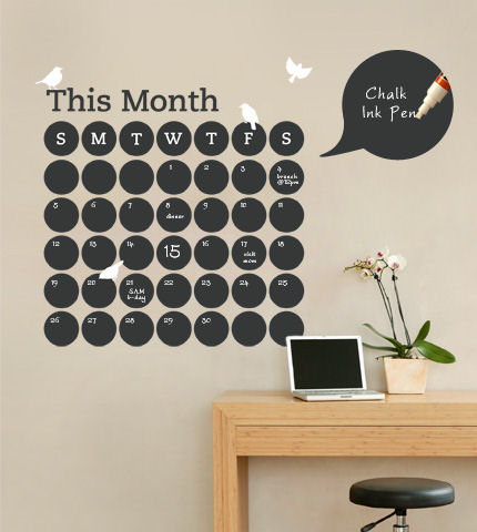 Chalkboard Daily Dot Calendar Wall Decal - Wall Sticker Outlet