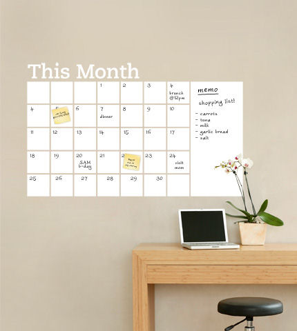 Dry Erase Calendar with Memo Wall Decal - Wall Sticker Outlet
