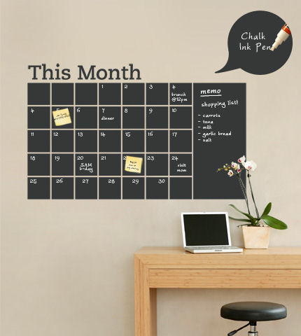 Chalkboard Calendar with Memo Wall Decal - Wall Sticker Outlet