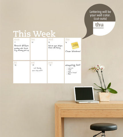 Weekly Dry Erase Calendar Wall Decal - Wall Sticker Outlet