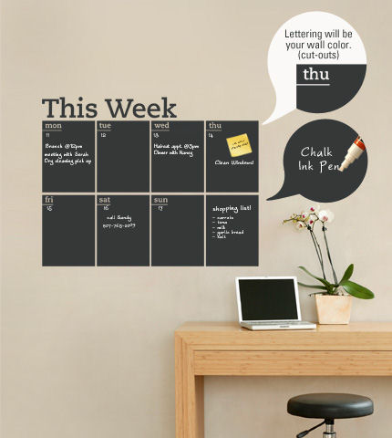 Weekly Chalkboard Calendar - Wall Decal - Wall Sticker Outlet