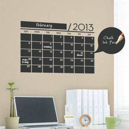 Chalkboard Calendar - 2013 Wall Decal - Wall Sticker Outlet