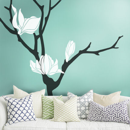 Magnolia Flower Tree Decal - Wall Sticker Outlet