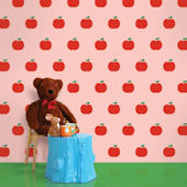 Red and Pink Apple Peel and Stick Wallpaper SALE