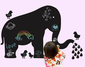 Wall Candy Arts Baby Elephant Chalkboard Mural - Wall Sticker Outlet