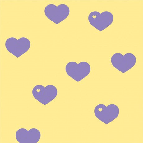 Hearts Butter Lavender Peel and Stick Wallpaper - Wall Sticker Outlet