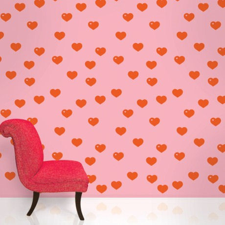 Hearts Pink and Red  Peel and Stick Wallpaper - Wall Sticker Outlet