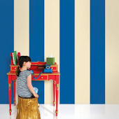 Stripes Blue and Cream  Peel and Stick Wallpaper