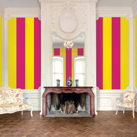 Stripes Raspberry Mango  Peel and Stick Wallpaper - Wall Sticker Outlet