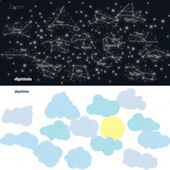 Sunny Day Starry Night Glow in the Dark Decals