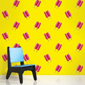 Twin Pop Pink and Yellow  Peel and Stick Wallpaper