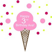 Happy Birthday Ice Cream Cone Vinyl Wall Sticker