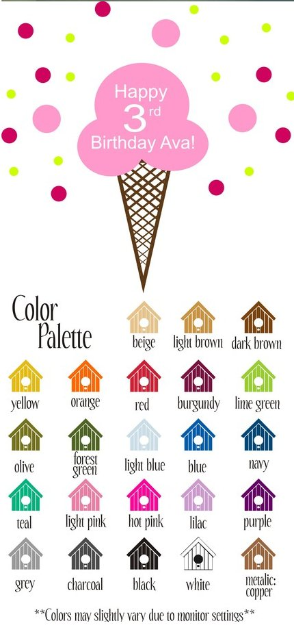 Happy Birthday Ice Cream Cone Vinyl Wall Sticker - Wall Sticker Outlet