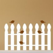 Birds On a Picket Fence Vinyl Wall Sticker
