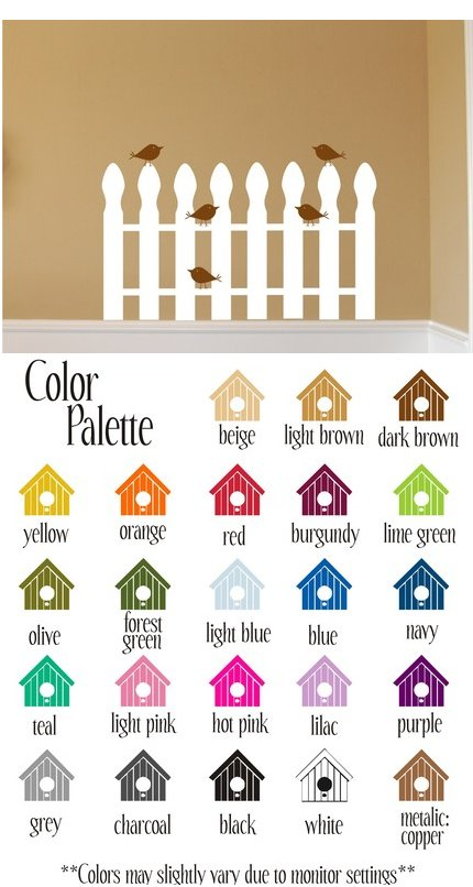 Birds On a Picket Fence Vinyl Wall Sticker - Wall Sticker Outlet