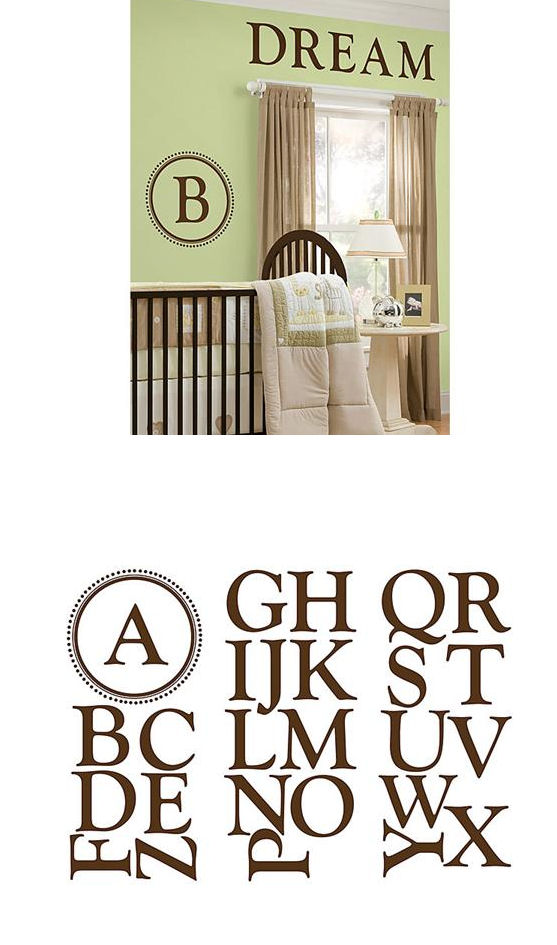 Durham Monogram Espresso Brown Wall Sticker - Wall Sticker Outlet