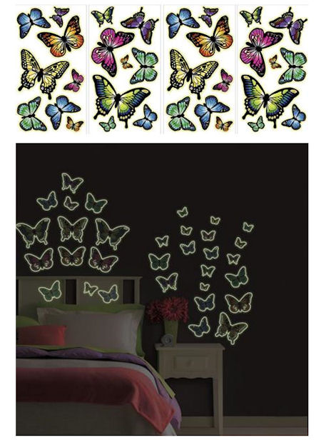 Glow in the Dark Butterflies Peel and Stick - Kids Wall Decor Store