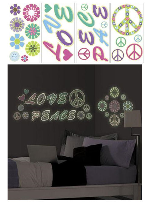 Glow in the Dark Peace and Love Peel and Stick - Wall Sticker Outlet