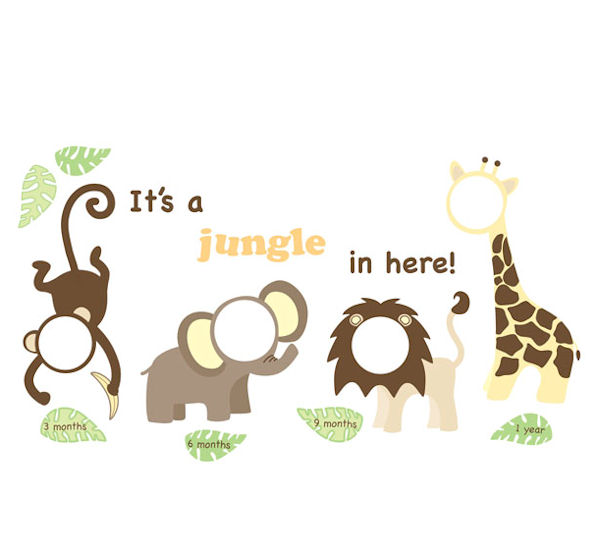 its a jungle in here wall sticker frames - Monkey Picture Frame