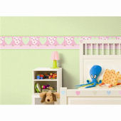 Pretty Flower Hearts Wall Border