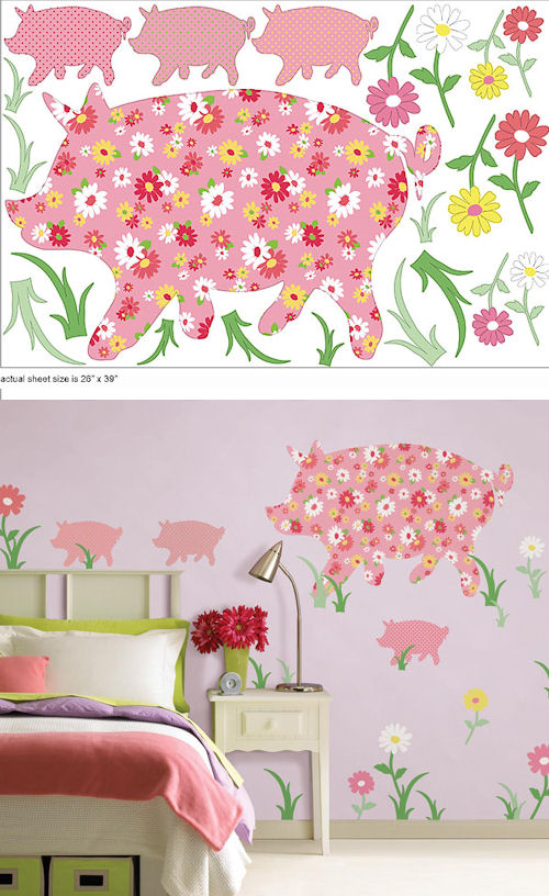 Wall Pops Zoo Wallogy Scarlett Pig Wall Sticker - Wall Sticker Outlet