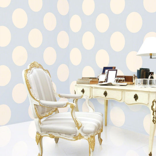 Polka Dot Blue Almond Peel & Stick Wallpaper - Wall Sticker Outlet