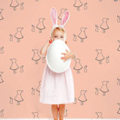 Bunny Up Pink Peel & Stick Wallpaper