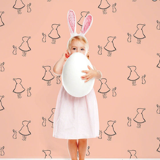 Bunny Up Pink Peel & Stick Wallpaper - Wall Sticker Outlet