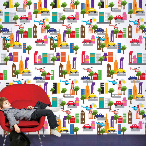 French Bull Citiscape Peel & Stick Wallpaper - Wall Sticker Outlet