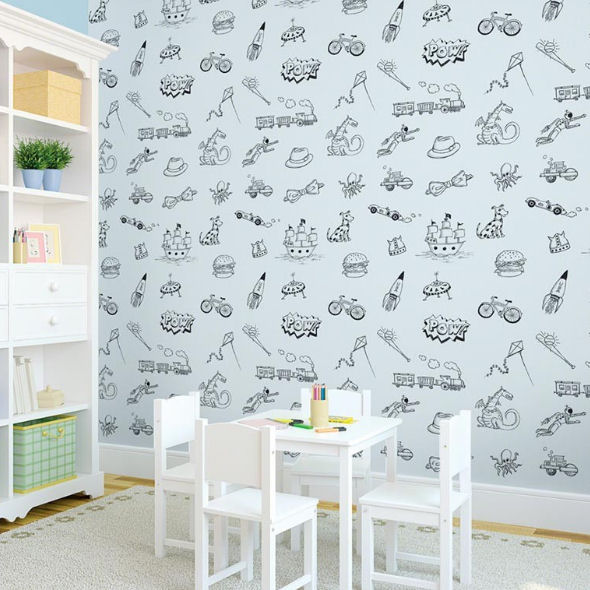 Doodle Blue and Black Peel & Stick Wallpaper - Wall Sticker Outlet