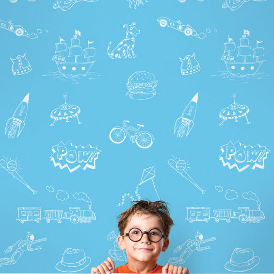Doodle Blue and White Peel & Stick Wallpaper - Wall Sticker Outlet