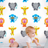 French Bull Jungle Party Peel & Stick Wallpaper