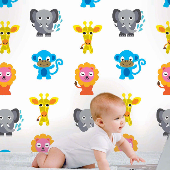 French Bull Jungle Party Peel & Stick Wallpaper - Wall Sticker Outlet