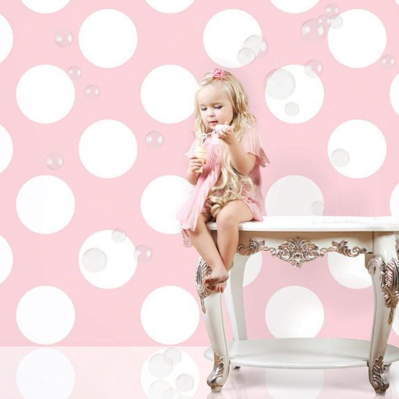 Pink and White Polka Dot Peel & Stick Wallpaper - Wall Sticker Outlet