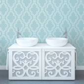 WallCandy Quatrefoil Aqua Peel Stick Wallpaper