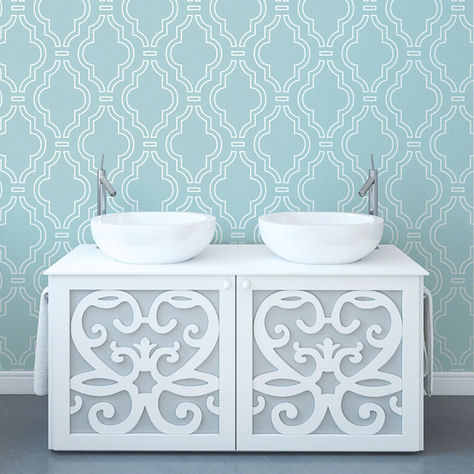 Wallcandy quatrefoil aqua peel stick wallpaper for Wallpaper outlet