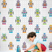 French Bull Robots Peel & Stick Wallpaper