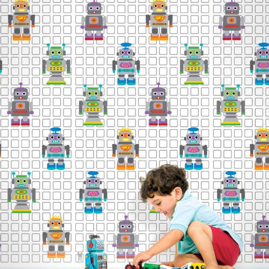French Bull Robots Peel & Stick Wallpaper - Wall Sticker Outlet