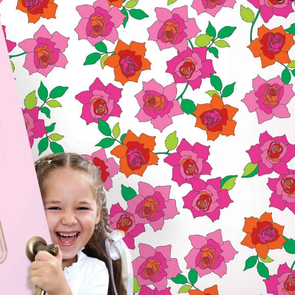 French Bull Rose Peel & Stick Wallpaper - Wall Sticker Outlet