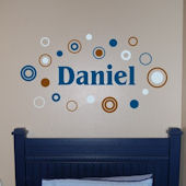 Boys Name with Circles and Dots Vinyl Wall Sticker