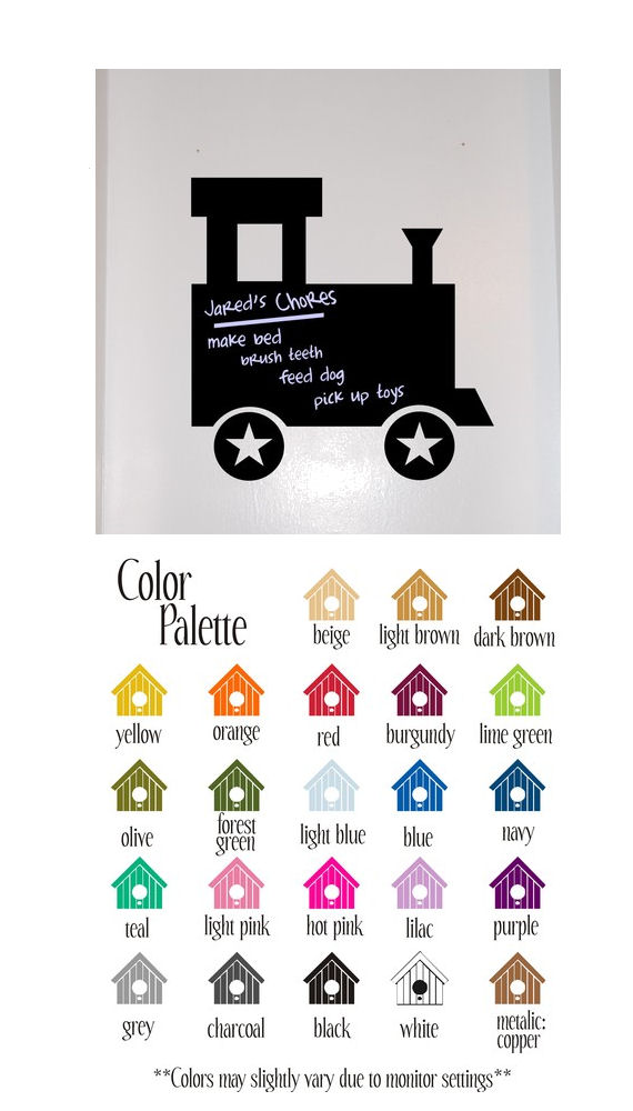 Chalkboard Train Peel and Stick Wall Mural - Wall Sticker Outlet