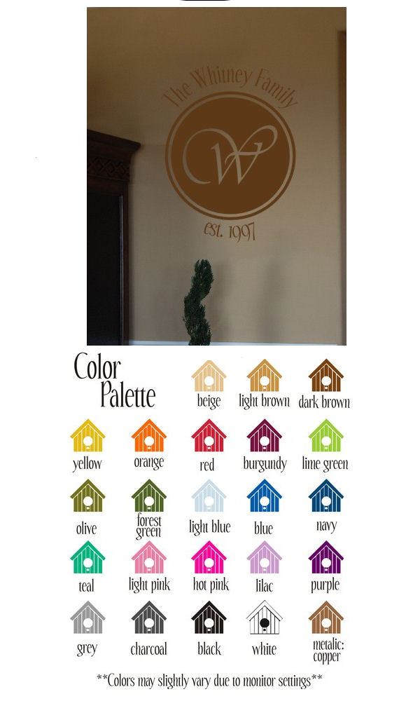 Your Family Name and Monogram Vinyl Wall Sticker - Wall Sticker Outlet