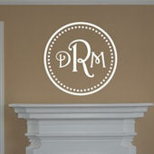Monogram Initials within Circle Vinyl Wall Sticker