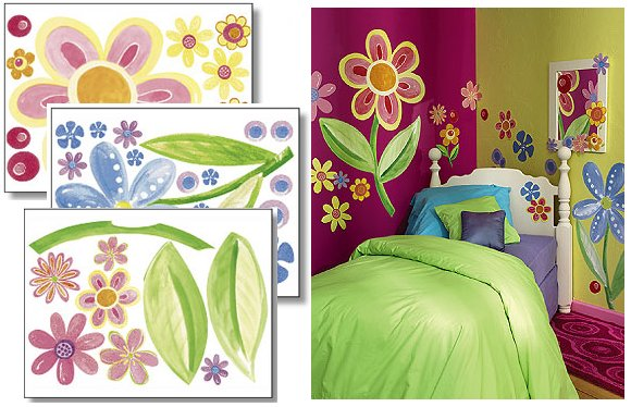 Wallies Big Flowers Big Wall Mural - Wall Sticker Outlet