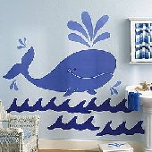 Wallies Whimsical Whale Big Wall Mural